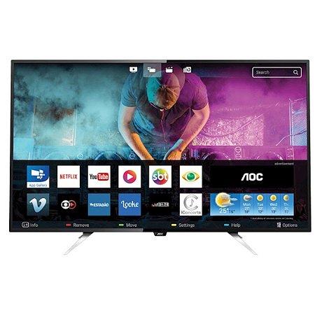 """Smart TV 55"""" LED AOC Ultra HD 4K 4HDMI 2USB Conversor Digital Integrado Preta [LE55U7970]"""