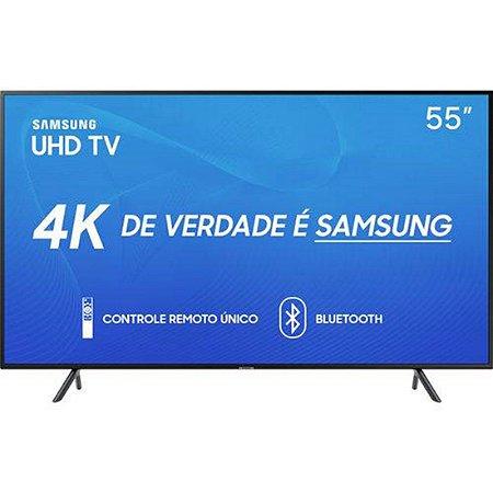 """Smart TV LED 55"""" Samsung 55RU7100 Ultra HD 4K com Conversor Digital 3 HDMI 2 USB Wi-Fi Visual Livre de Cabos Controle Remoto Único e Bluetooth"""