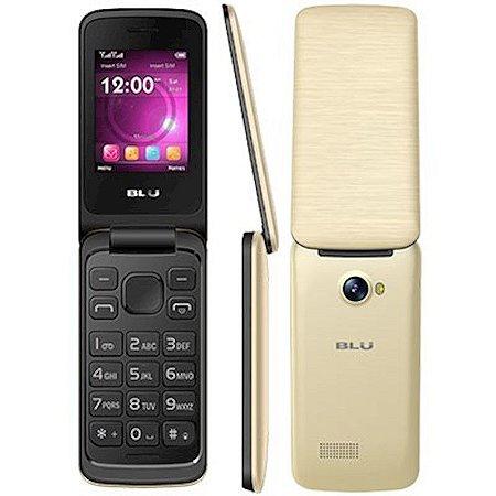 Telefone Celular Blu Diva Flex Dourado Dual Chip Micro SD 32GB MP3 MP4 Câmera Com Flash