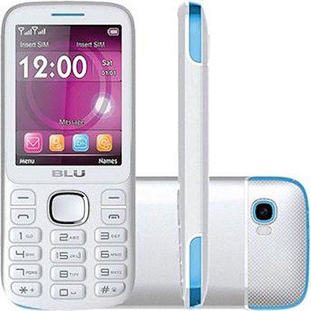 Telefone Celular Blu Jenny Tv 2Chips Bluetooth MP3 MP4 Câmera Com Flash Branco/Azul