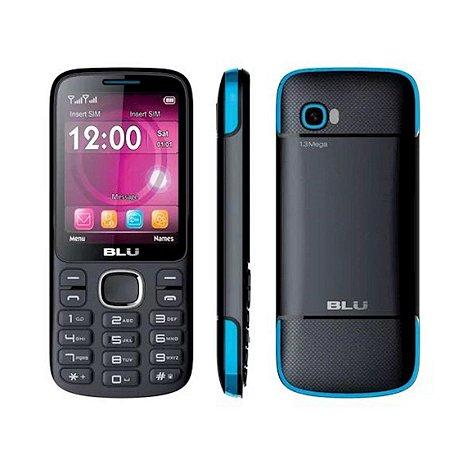 "Telefone Celular Blu Jenny TV Dual Chip Tela 2.8"" Bluetooth Radio FM Preto/Azul [T276T]"