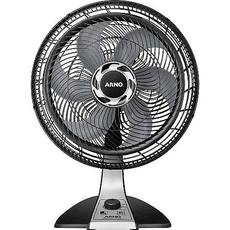 Ventilador de Mesa Arno Silence Force 30cm 3 velocidades Preto/Prata 127 Volts [ VF30 PT PR]