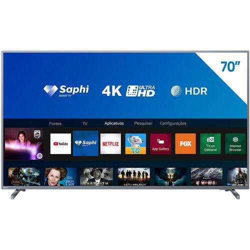 "Smart TV Tela 70"" Philips 70PUG6774/78 4K Conversor Digital Wi-Fi 2 USB 3 HDMI"