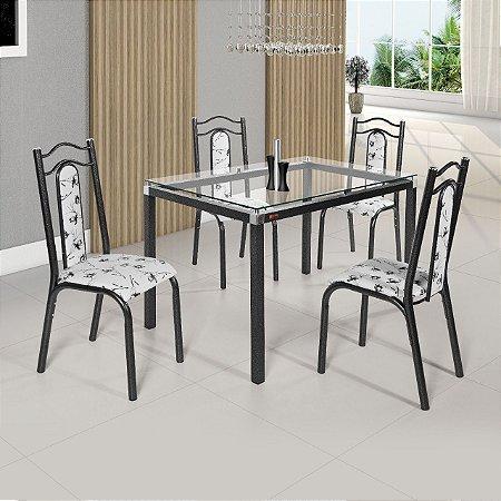 Conjunto Lara  Tampo Vidro Incolor  4 Cadeiras Turbo Craqueado Preto Assento Floral Branco