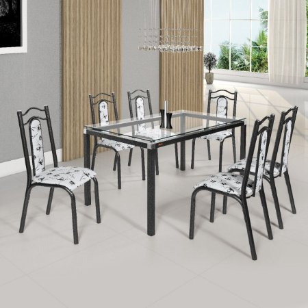 Conjunto Lara Tampo Vidro 6 Cadeiras Assento Floral Branco