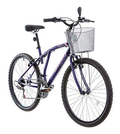 Bicicleta Houston  Bristol Lance C/Cesta Aro 26 Cor Violeta Fosco