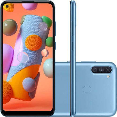 "Smartphone Samsung Galaxy A11 32GB Dual Chip Android 10 Tela 6.4"" Octa-Core 4G Câmera Tripla 13MP+5MP+2MP - Azul"