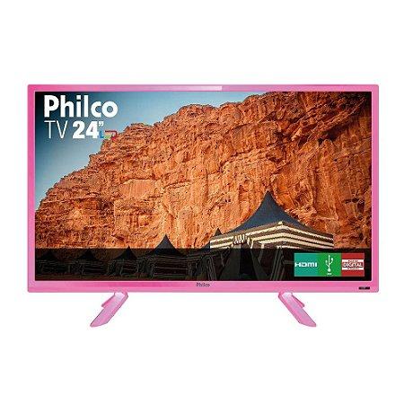 Tv Philco Rosa 24 Polegadas Com Resolução Hd E Recepção Digital - Tv Ptv24c10dr Led