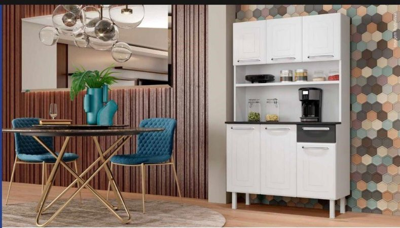 Kit Cozinha Colormaq 6P 1G Branco/Preto