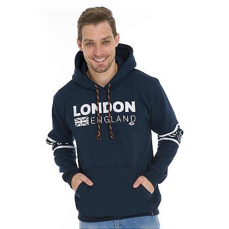 Blusa Moletom Londres com Capuz e Bolsos Canguru
