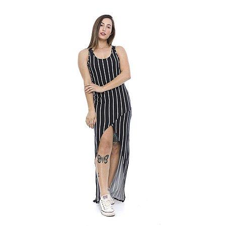 Vestido Longo Malha Visco Listrado
