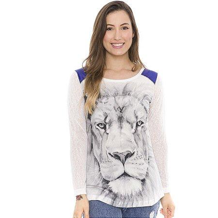 Blusa Detalhe no Ombro Estampa Lion