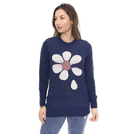 Blusa de Tricot Flor Frente Royal
