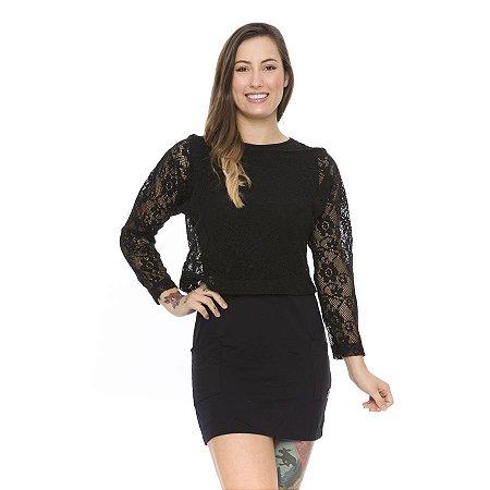 Conjunto Vestido Curto Malha Viscose Com Blusa De Renda
