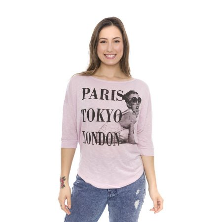Blusa Manga 3/4 Estampa Paris Tokyo London Rosa