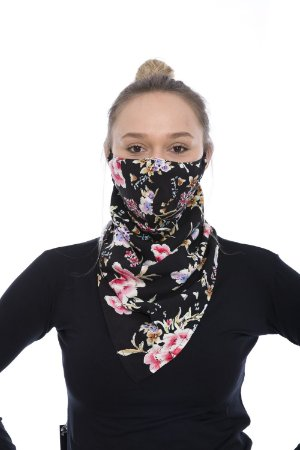 Máscara Lenço de Tecido Lavável Preta Estampada