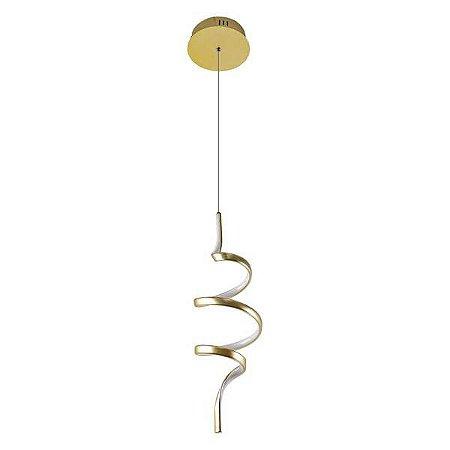 Pendente PD1427 Dourado com LED integrado - 18x55cm
