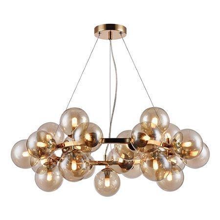 Pendente Gold Conhaque com esferas em vidro - 70x24cm
