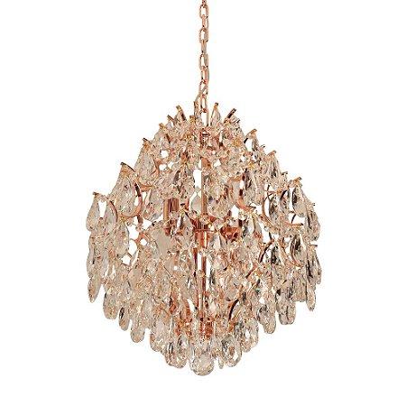 Lustre Colméia em metal cromado Rose Gold com Cristais 62x70