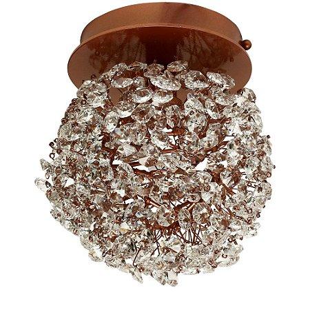 Plafon Iris ninho cristais com acabamento cobre