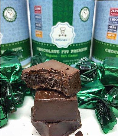 Bombom Fit Chocolate Meio Amargo (54%) Puro (Vegano) 200g (lata com 10 unidades)