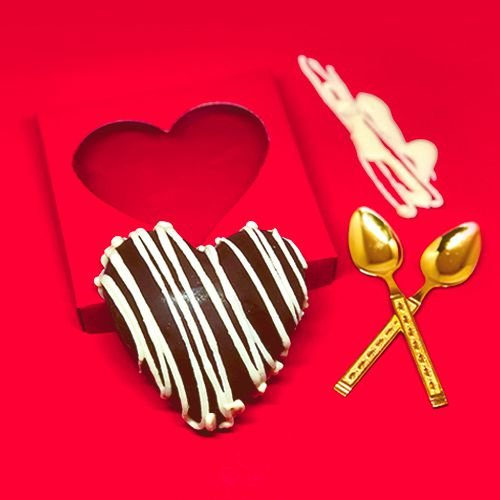 Coração de Chocolate Fit Zero (meio amargo) recheado com Trufa Belga e Whey 200g