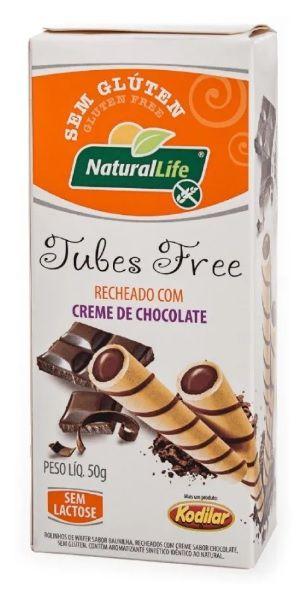 Tubes Sem Gluten Recheados com Creme de Chocolate 50g