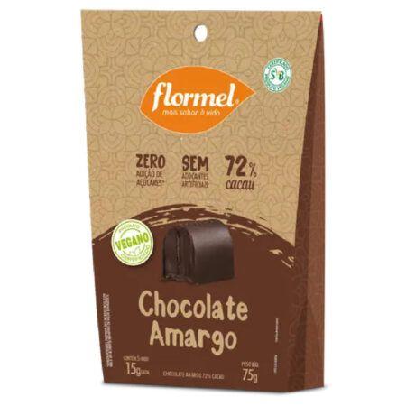 Caixa de Bombom Vegano Flormel Chocolate 72% Amargo 75g