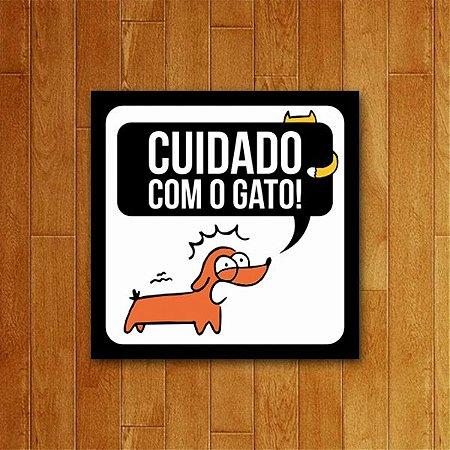 Placa Decorativa Cuidado Com O Gato - Um Sábado Qualquer