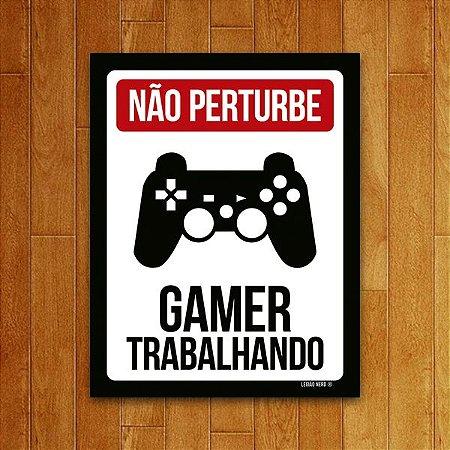 Placa Decorativa Gamer trabalhando PS