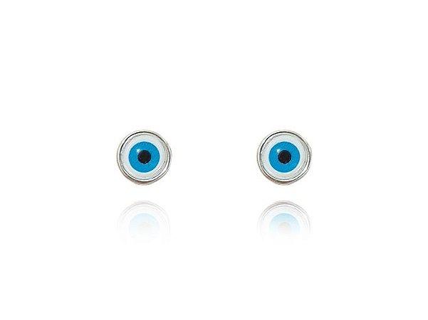 Brinco De Prata Com Olho Grego Feminino - Prata De Lei