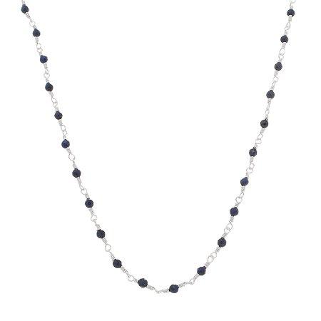 Cordão De Prata Pura Com Pedras Naturais Lapis Lazuli