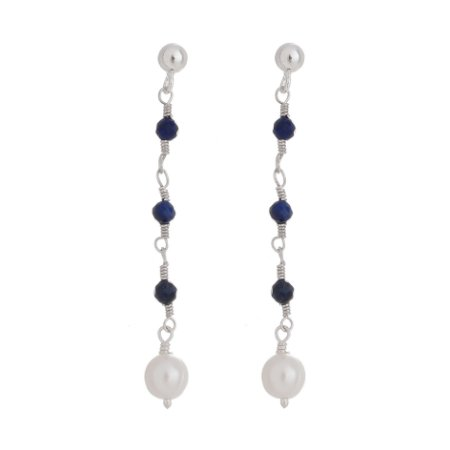 Brinco - Pérolas + Lapis Lazuli