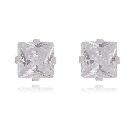 Brinco de prata zircone quadrada