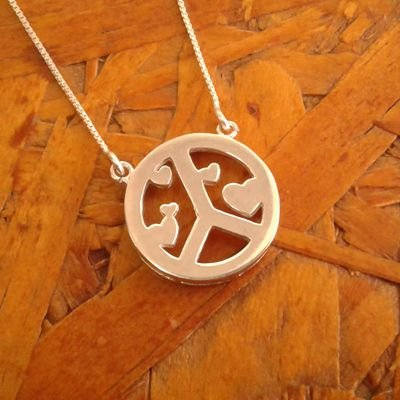 Colar de prata paz e amor
