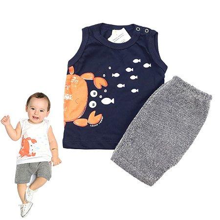 Roupa de Bebê Menino Conjunto de Verão Caranguejo Camiseta Marinho