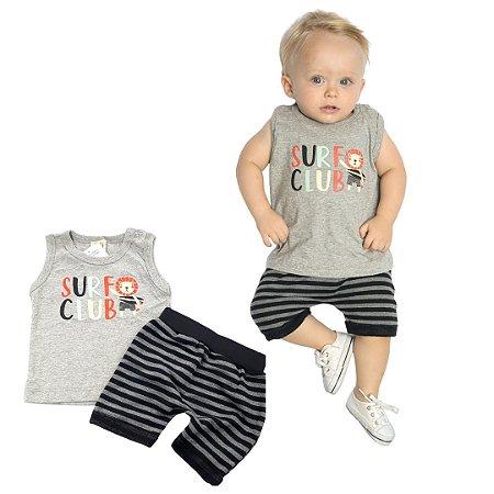 Roupa de Bebê Menino Conjunto Animais Regata Camiseta Mescla