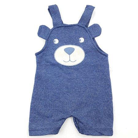 Roupa de Bebê Menino Macacão Curto Jardineira Moletinho Azul