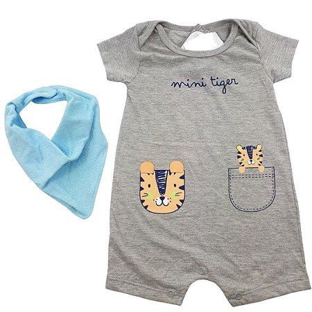 Roupa de Bebê Menino Macacão Curto Tigre Cinza Mescla