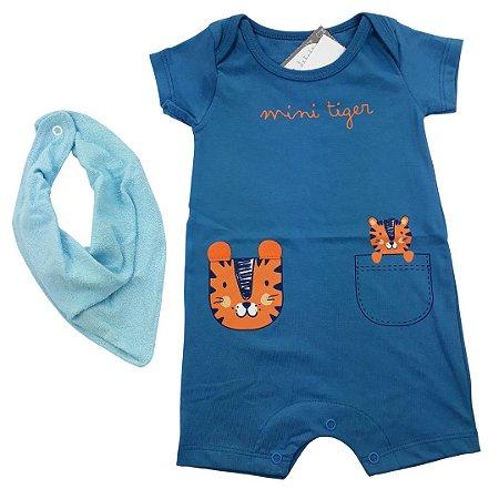 Roupa de Bebê Menino Macacão Curto Tigre Azul