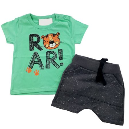 Roupa de Bebê Menino Conjunto Camiseta Verde Tigre e Bermuda
