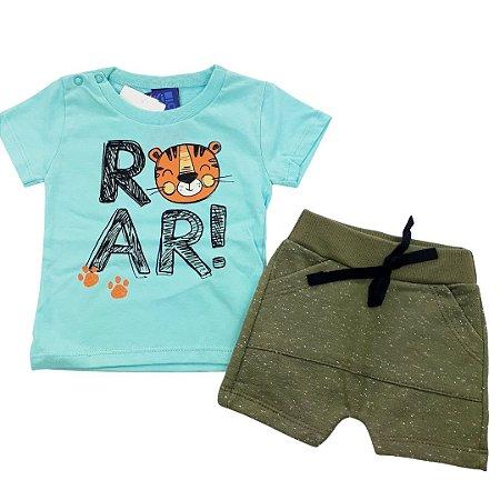Roupa de Bebê Menino Conjunto Camiseta Azul Tigre e Bermuda