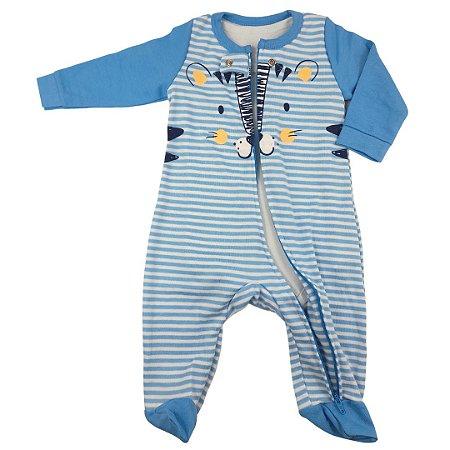 Macacão Zíper Roupa De Bebê Menino Tigre Azul