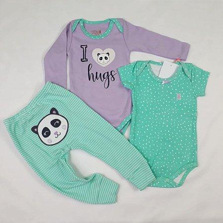 Conjunto 2 Bodies E Calça Estampa Panda Verde
