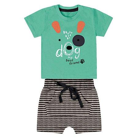 Roupa de Bebê Menino Verão Conjunto de Calor Dog Verde Kiko Baby
