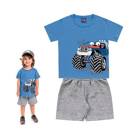 Conjunto Roupa de Bebê Infantil Calor Camiseta Bermuda Azul Carro