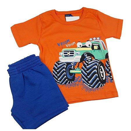 Conjunto Roupa de Bebê Infantil Calor Camiseta Bermuda Laranja Carro