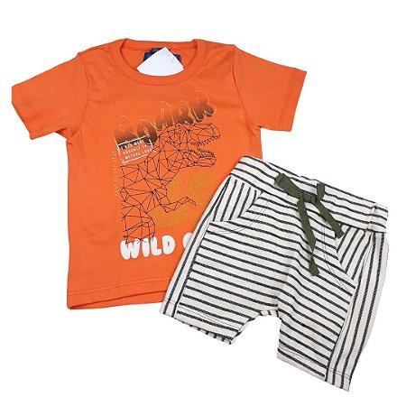 Conjunto Roupa de Bebê Infantil Calor Camiseta Bermuda Laranja Dino