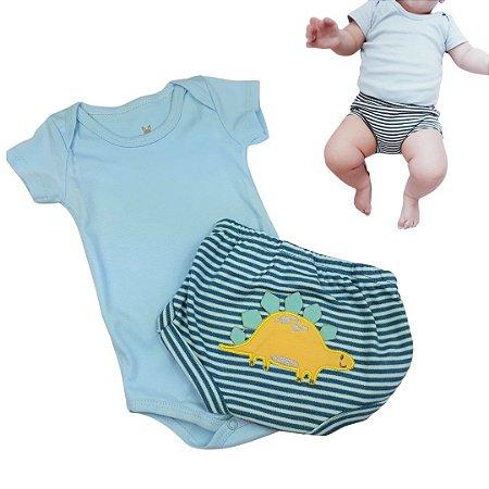 Conjunto Roupa de Bebê Menino Body Manga Curta  Dino Azul Claro Calor
