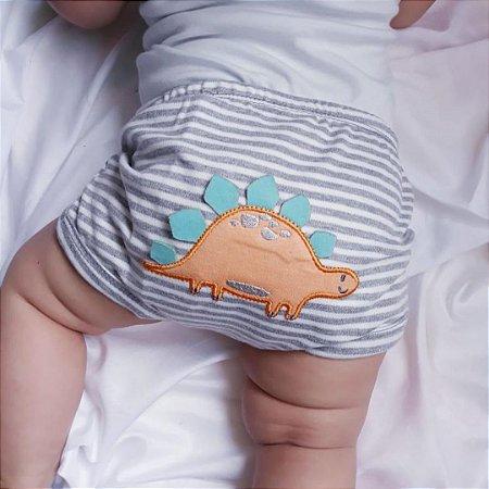 Conjunto Roupa de Bebê Menino Body Manga Curta Dino Neutro  Calor